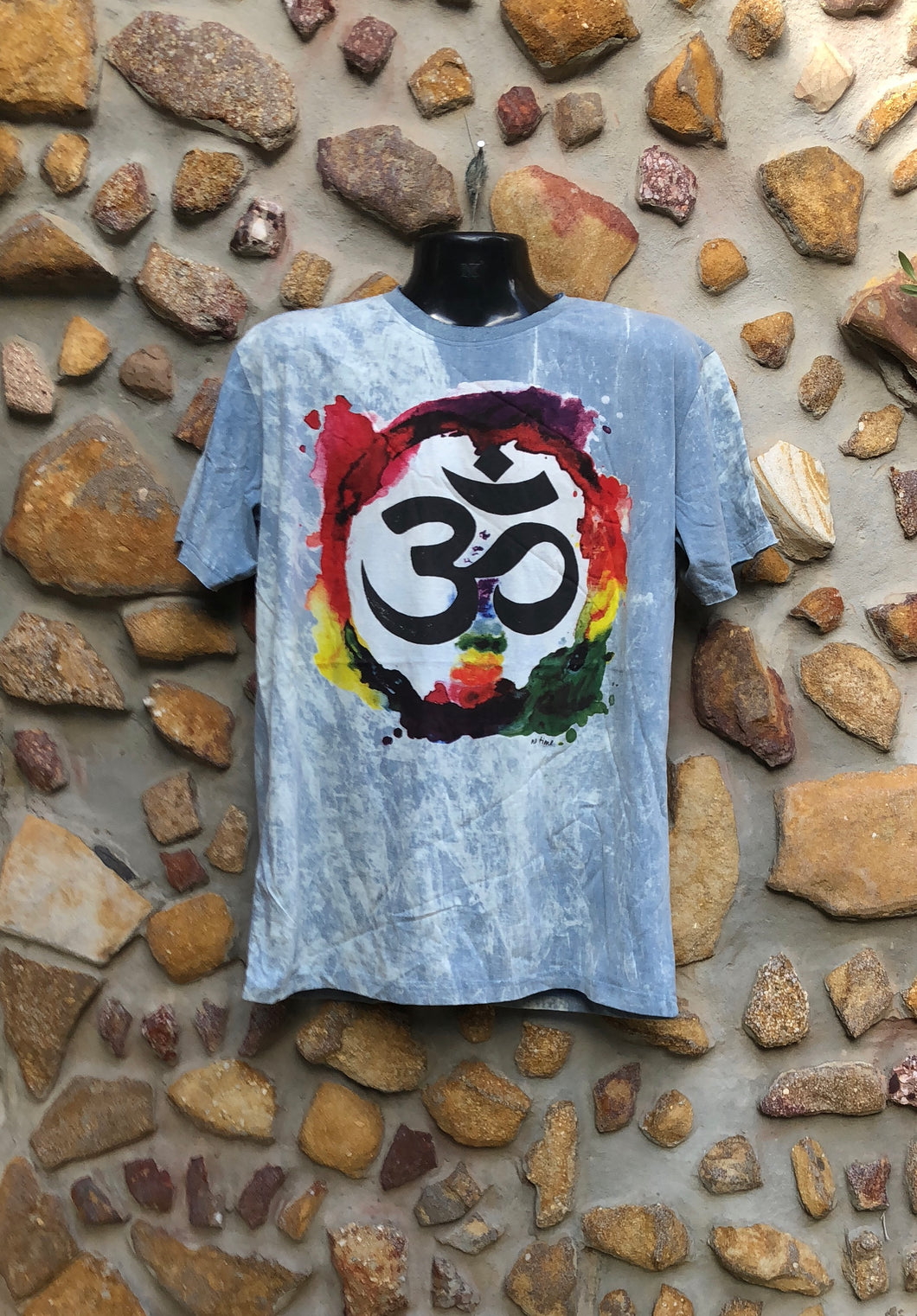 Extra Large Funky Tee - Om in a Rainbow - Grey Blue
