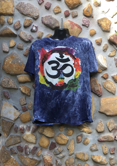 Extra Large Funky Tee - Om in a Rainbow - Navy