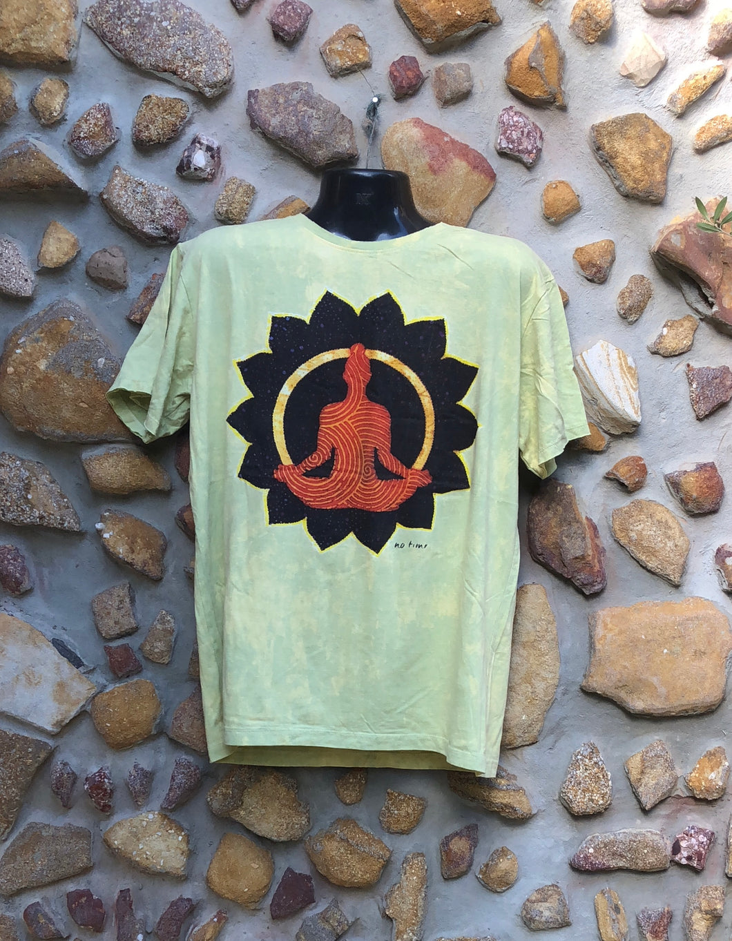 Extra Large Funky Tee - Orange Buddha in Lotus - Lemon Yellow
