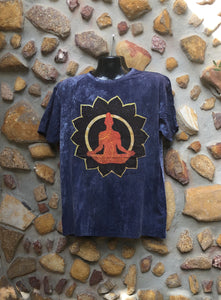 Extra Large Funky Tee - Orange Buddha in Lotus - Navy