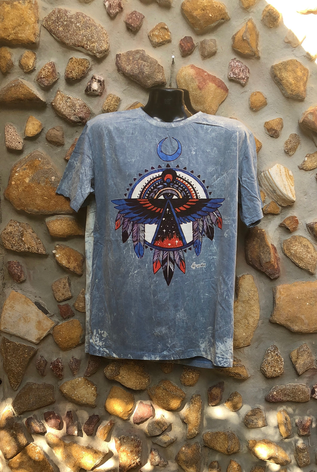 Extra Large Funky Tee - Eagle Totem - Grey
