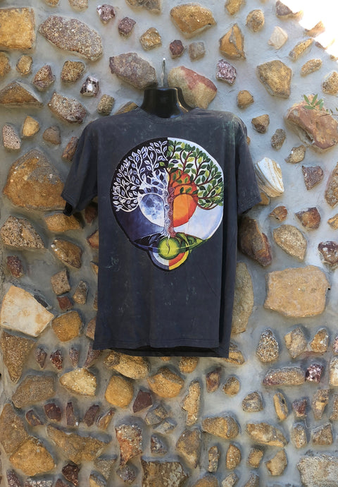 Extra Large Funky Tee - Moon Sun Tree - Charcoal
