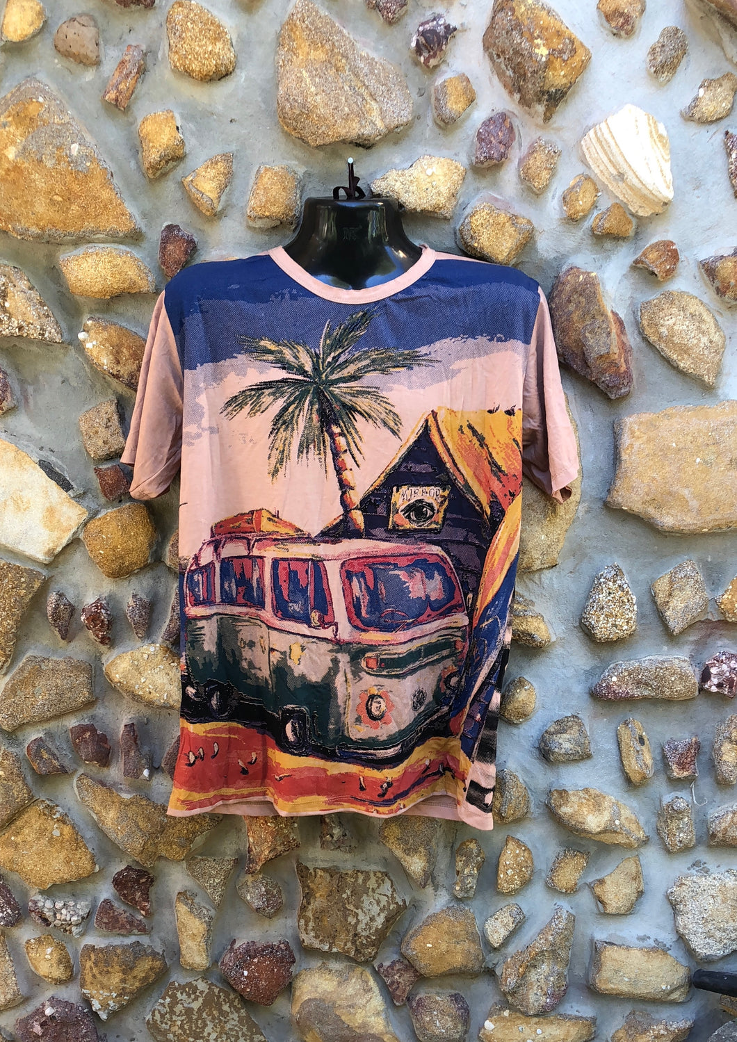 Extra Large Funky Tee - Kombi and Palm Tree - Light Brown