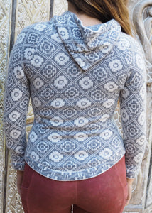 Extra Small - Geometric Grey Alpaca Hooded Cardigan