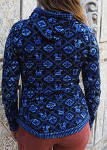 Load image into Gallery viewer, Small - Blue Geometric Alpaca Cardigan