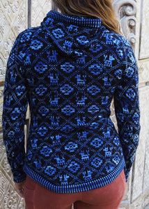 Small - Blue Geometric Alpaca Cardigan