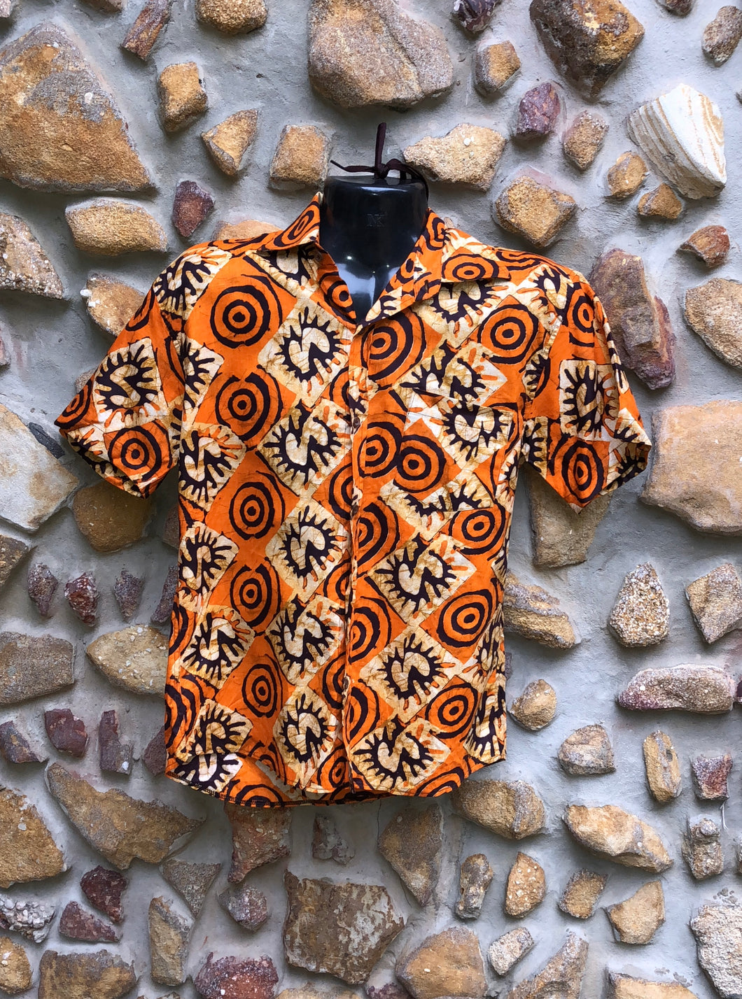XXXL Love Shirt Cotton - Orange Swirls African Print