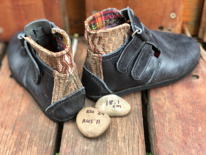 Size 11 Kids Adventure Boots Charcoal Leather with Brown Aztec