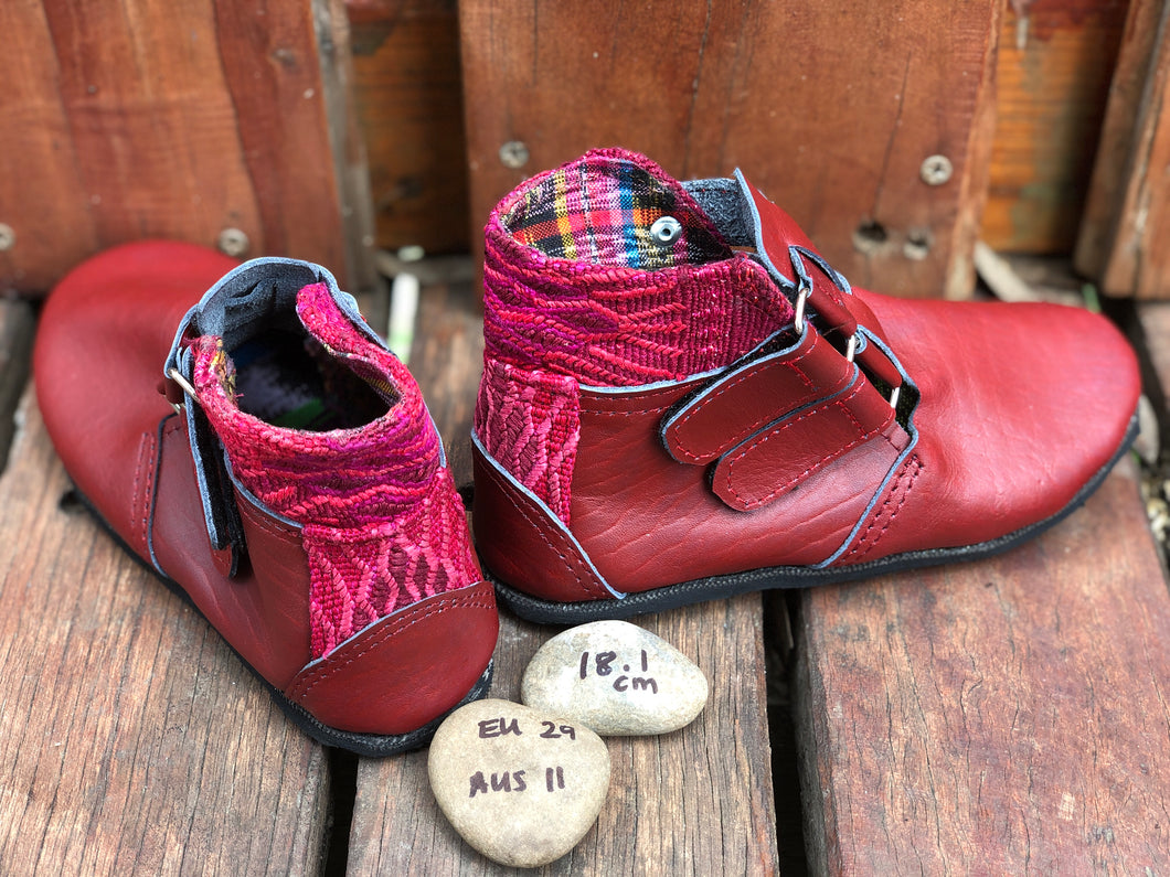 Size 11 Kids Adventure Boots Red Leather with Pink Aztec