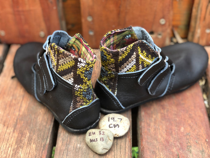 Size 13 Kids Adventure Boots Black Leather with Natural Fabric