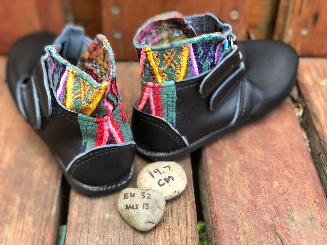 Size 13 Kids Adventure Boots Black Leather with Rainbow Aztec