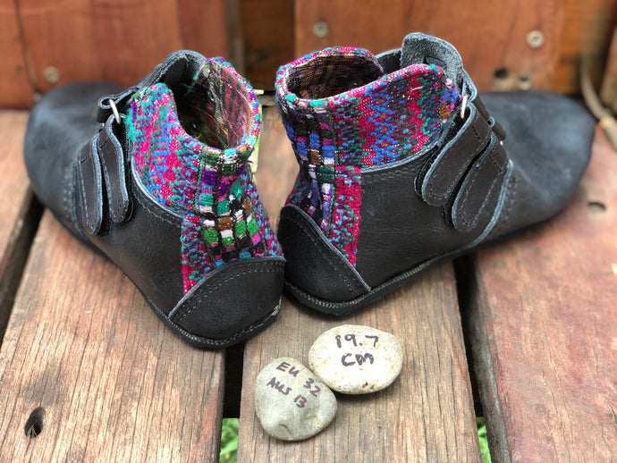 Size 13 Kids Adventure Boots Charcoal Leather with Red and Blue Aztec