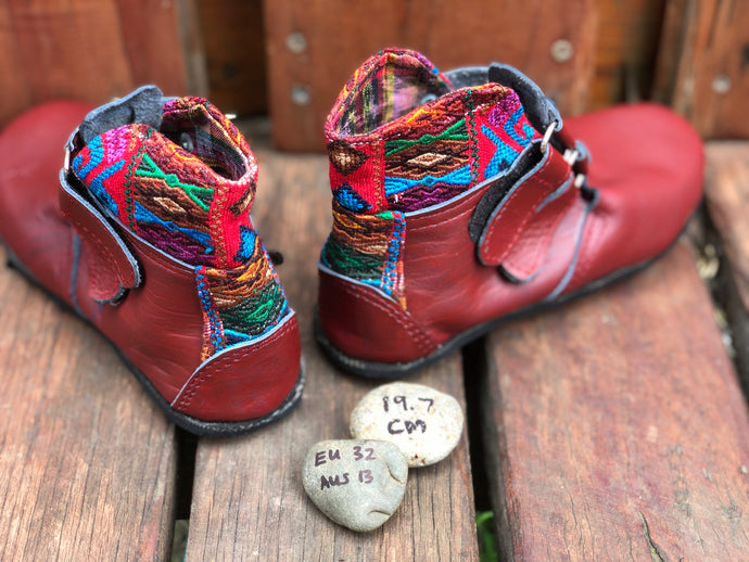 Size 13 Kids Adventure Boots Red Leather and Aztec