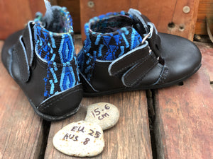 Size 8 Kids Adventure Boots Black Leather and Blue Diamonds