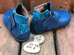 Size 8 Kids Adventure Boots Blue Leather and Blue Fabric