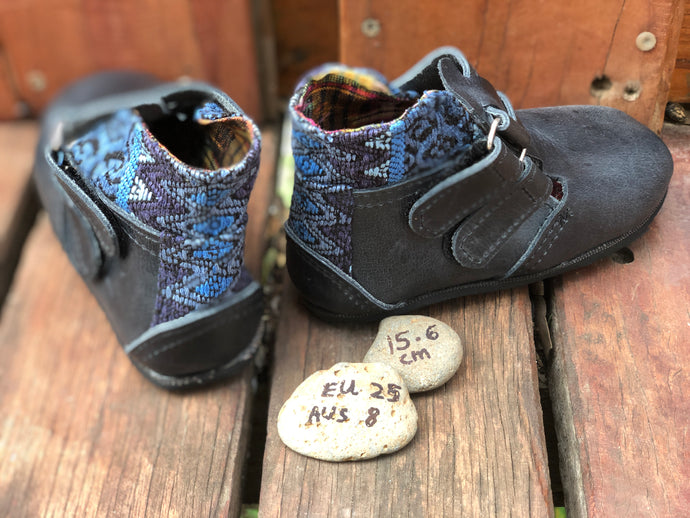 Size 8 Kids Adventure Boots Charcoal Leather and Blue ZigZag