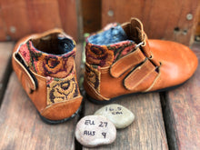 Load image into Gallery viewer, Size 9 Kids Adventure Boots Brown Leather with Antique Roses