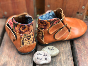 Size 9 Kids Adventure Boots Brown Leather with Antique Roses