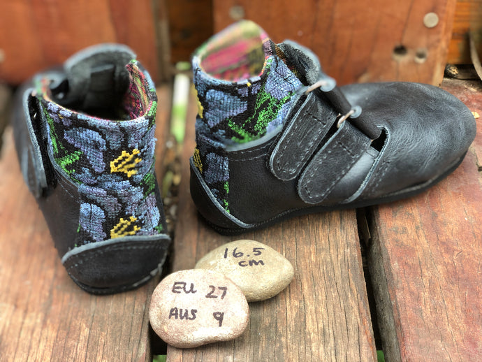 Size 9 Kids Adventure Boots Charcoal Leather and Blue Flowers