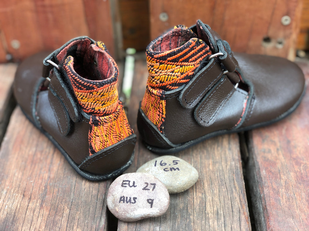 Size 9 Kids Adventure Boots Brown Leather and Orange Rhombos