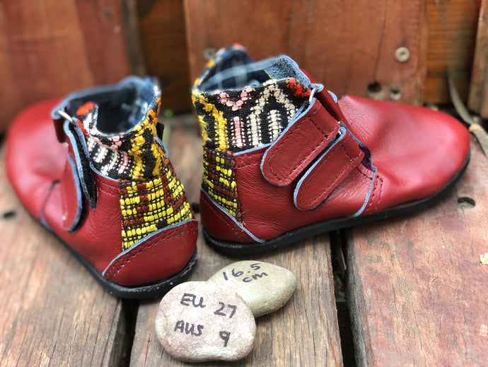 Size 9 Kids Adventure Boots Red Leather and Yellow Pattern