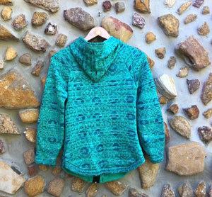 Small - Aqcua and Turquoise Geometric Alpaca Cardigan