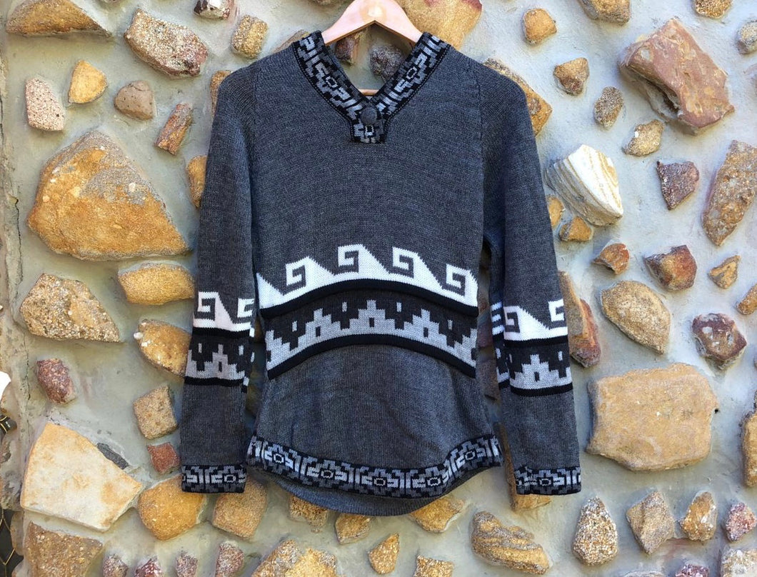 Small - White wave on Charcoal  Alpaca Jumper with Hood
