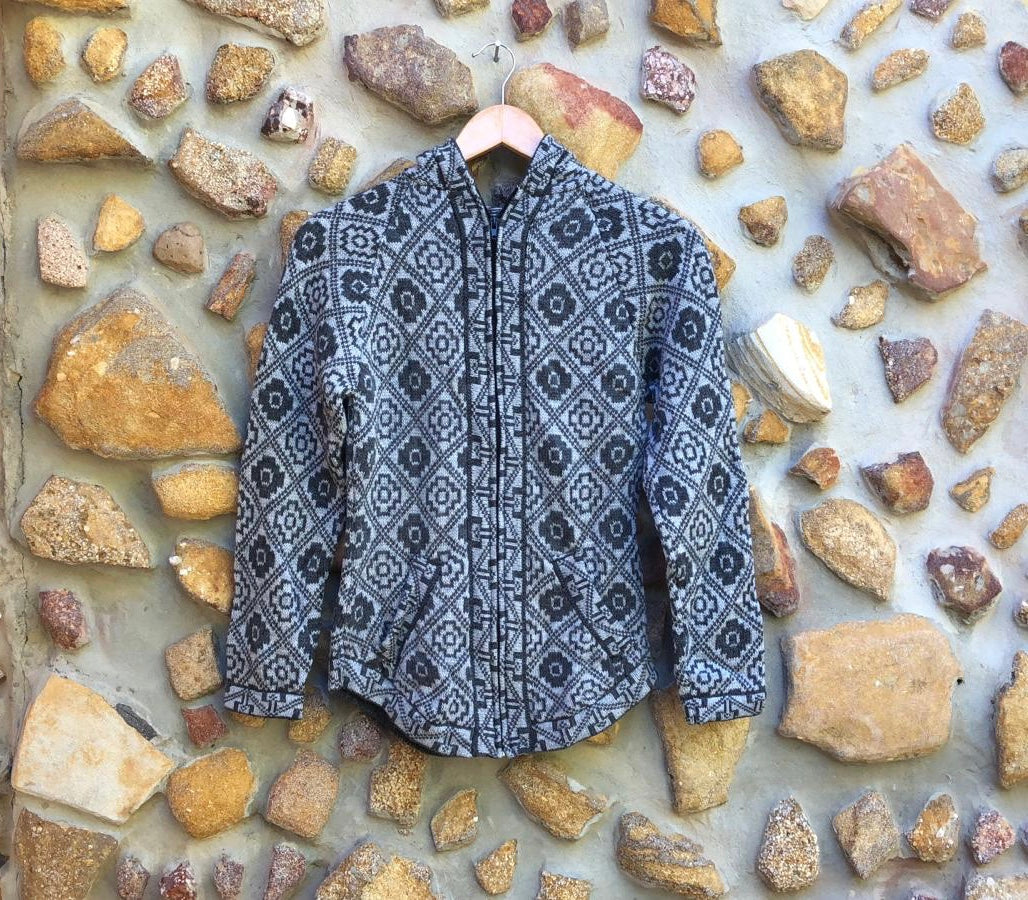 Small - Black on Grey Geometric Alpaca Cardigan