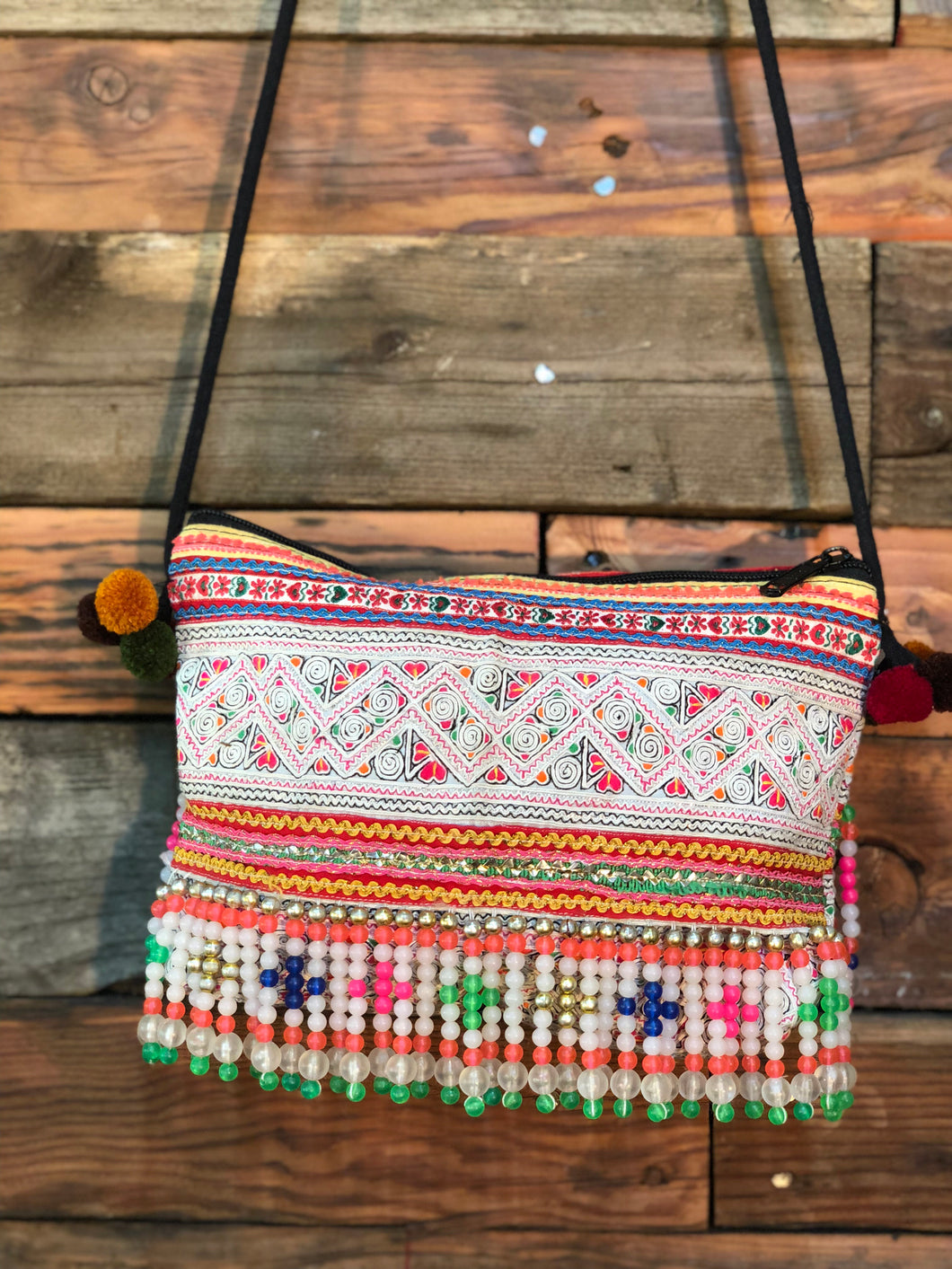 Hill Tribe Clutch-green beads and zig zags