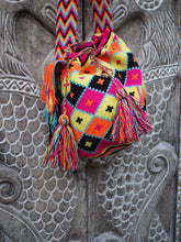 Load image into Gallery viewer, Colombian Wayuu Bag -black, yellow and pink