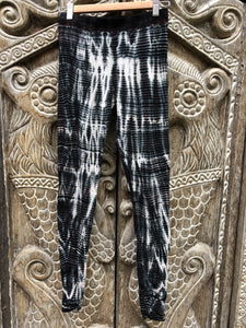 Tie dye Leggings- Black and white river