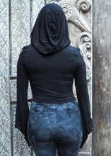 Load image into Gallery viewer, Medieval Hooded Stretch Top- black