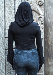 Medieval Hooded Stretch Top- black