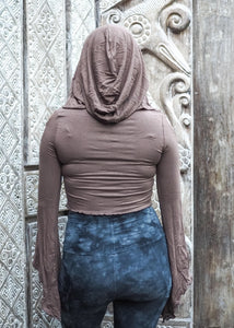 Medieval Hooded Stretch Top- Fawn