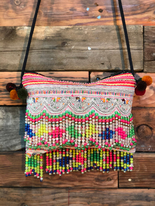Hill Tribe Clutch- wavy coloured beads