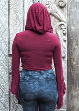 Load image into Gallery viewer, Medieval Hooded Stretch Top- Red wine