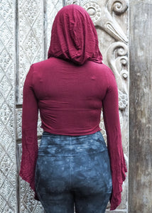 Medieval Hooded Stretch Top- Red wine