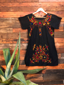 Little Frida shift Dress- autumn on black