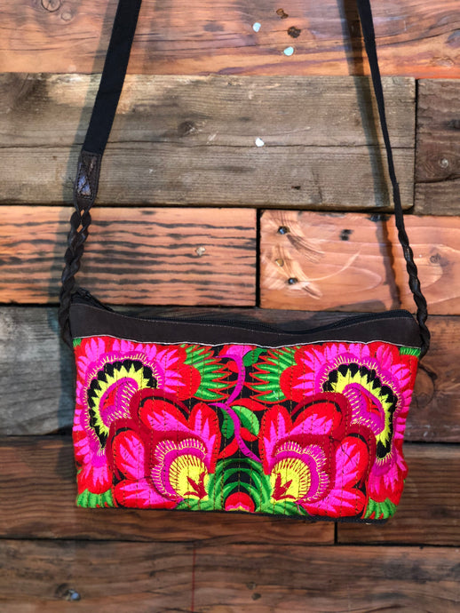Pomegranate Bag-Black base with red and hot pink flowers