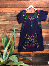 Load image into Gallery viewer, Little Frida shift Dress- spring on navy