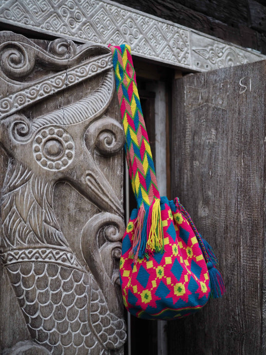 Colombian Wayuu Bag -hot pink, blue and yellow