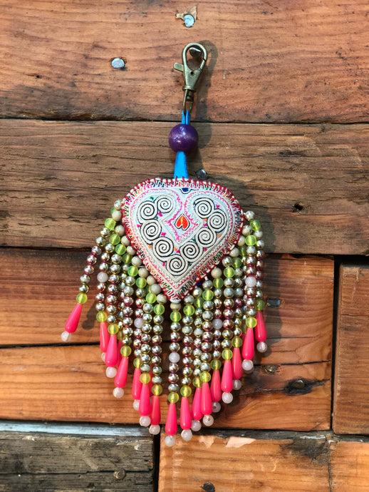 Heart Key Ring with beads