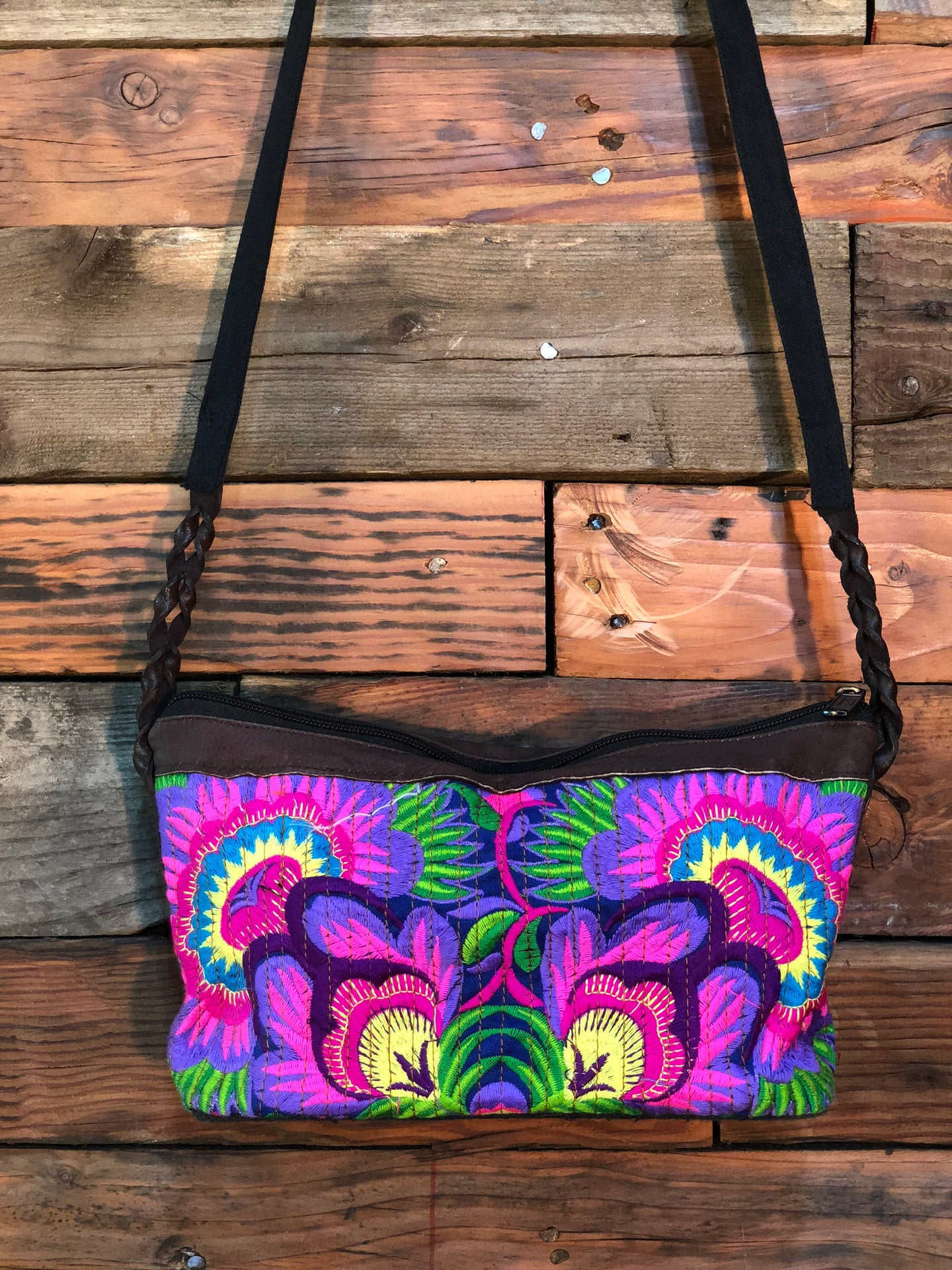 Pomegranate Bag-Navy base with pink and purple flowers