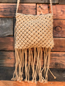 Natural macrame bag- fawn