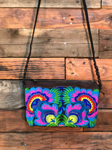 Pomegranate Bag-Black base with blue and pink flowers