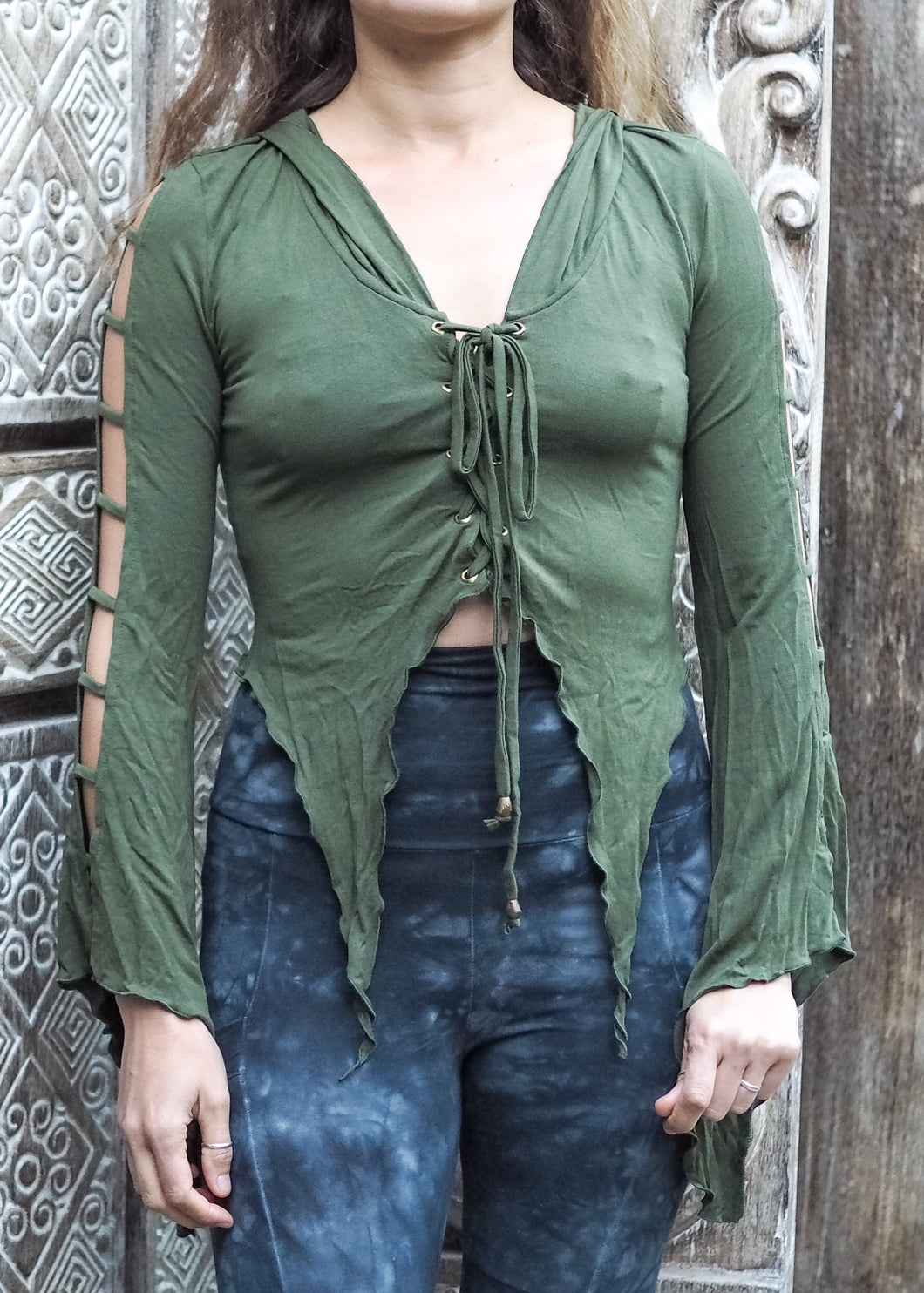 Medieval Hooded Stretch Top- forest green
