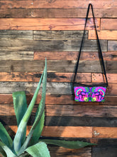 Load image into Gallery viewer, Pomegranate Bag-Navy base with pink and purple flowers