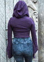 Load image into Gallery viewer, Medieval Hooded Stretch Top- Grape