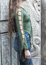 Load image into Gallery viewer, Medieval Hooded Stretch Top- forest green