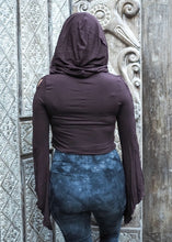 Load image into Gallery viewer, Medieval Hooded Stretch Top- Chocolate